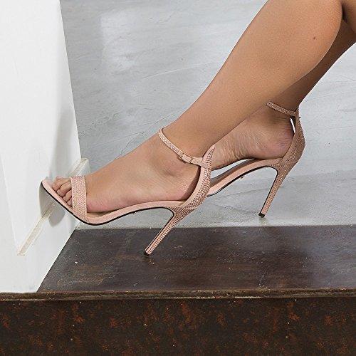 Ideal Shoes - Sandales à talon effet daim ornées de strass Sabiana Rose