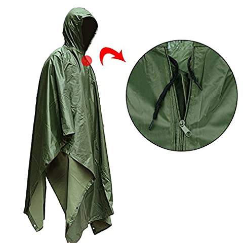 ATLES Rain Cape Ripstop Hooded Poncho - Multifunctional Eco-friendly Raincoat Waterproof Tent Ground Sheet,Sunshade Shelter,Perfect for Outdoor Activities