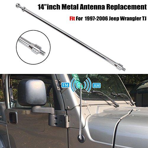 Antenne für Wrangler TJ 1997-2006, Antenne ersetzen AM FM Radio Antenne Metall Aluminium Heavy Duty Silber