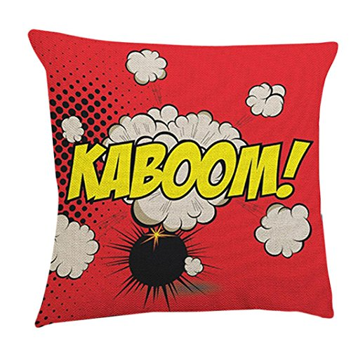 (Janly Pop Art Boom Kissen Abdeckung Cartoon Buchstaben Kissenbezug Comic Auto Sofa Dekoration Kissenbezug (D))