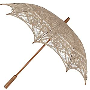 The 1 for U Victorian Lace Parasol - Ecru (Light Beige)