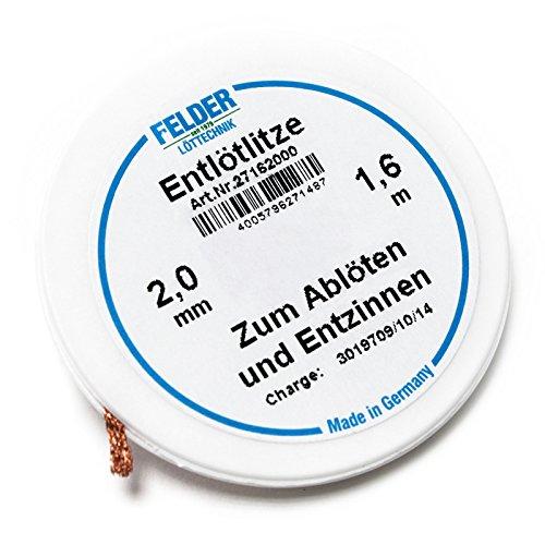 Felder Solder mèche, 1.6m, 2,0mm, flux imbibé pour le dessoudage
