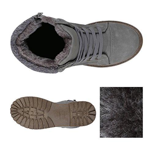 Stiefelparadies Warm Gefütterte Damen Stiefeletten Fell Worker Boots Outdoor Schuhe Flandell Grau Bexhill