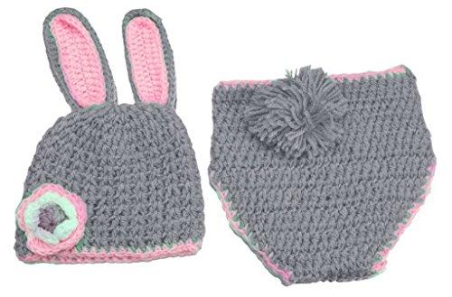 La vogue Stricken Häkeln Baby Bodys Mütze Beanie Babykleidung Windel-Abdeckung Newborn Kostüm Set Tiere für Fotografie Grau Kanichen