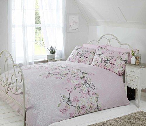 Vogel Zweig Blumen Spitze Druck pink beige grau King Size ( Plain Weiß passendes Leintuch - 152 x 200cm + 25) PLAIN weiß Hausfrau Kopfkissenbezüge 6 Stück Bettwäsche Set