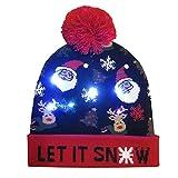 Tonsee  Chapeau de Noël, Joyeux Noël coloré LED Chapeau tricoté Lumineux Bonnet Bouffée de tête Hairball Cadeaux Chauds