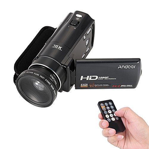 Andoer hdv-v7 1080p videocamera videocamera digitale hd full hd max 24 mega pixel zoom digitale da 16 × con schermo lcd rotativo da 3,0