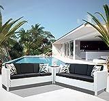 Luxurygarden Set Divani Salotto Angolare in Rattan Sintetico da Arredo Giardino Afef Bianco