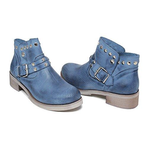 Personal Shoepper Stivaletti Biker Bassi Traforati Donna Cinturini Borchie Prestige 0334 Blu Jeans in Vera Pelle nabuk Made in Italy Blu