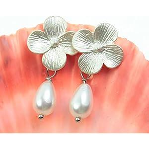 Perlenohrringe Perlenohrstecker Brautschmuck Hochzeit Perlenohrhänger Tropfenperle Ohrringe Ohrstecker Perle Farbe: Silber versilbert Blümchenohrringe