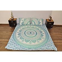 Indio turquesa blanco Urban Outfitters azteca Mandala tapiz colgar en la pared manta colcha Gypsy, Boho Queen doble doona funda de edredón y 2 funda de ...