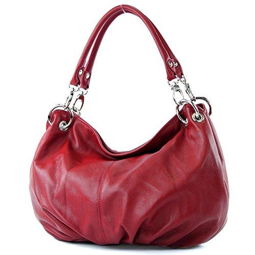 modamoda de - ital. Ledertasche Damenhandtasche Damentasche Schultertasche Nappaleder IT40, Präzise Farbe:Dunkelrot (Rote Leder-hobo)