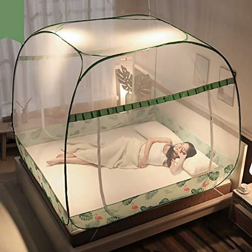 GYPPG Moskitonetz Bett Baldachin 3 Tür Pop UP Voller Boden Insektennetz, Feinmaschig Mesh, Mückennetz Für Reise Und Zuhause, Keine Chemikalien, Einfache Anbringung,Green,120 * 200 * 165cm - Drei Volle Tür