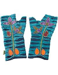 Vishes – alternative Bekleidung – bestickte Handstulpen aus Fleece mit Cutwork – Unikat
