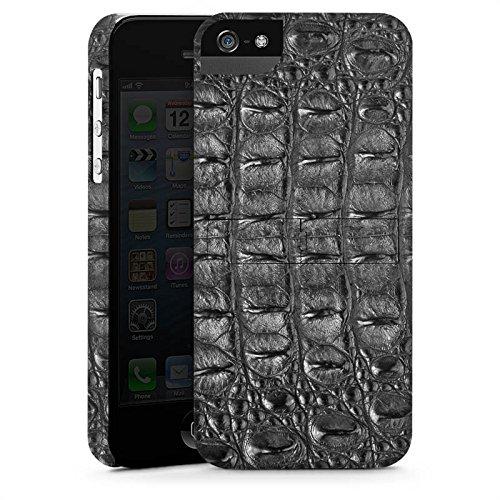 Apple iPhone X Silikon Hülle Case Schutzhülle Krokodilhaut Look Schwarz Krokodil Muster Premium Case StandUp