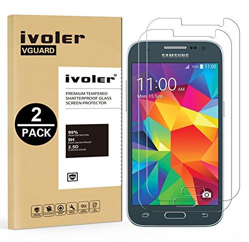[Lot de 2] Samsung Galaxy Core Prime Protection écran, iVoler Film Protection d'écran en Verre Trempé Glass Screen Protector Vitre Tempered pour Samsung Galaxy Core Prime - Dureté 9H, Ultra-mince 0.30 mm, 2.5D Bords Arrondis- Anti-rayure, Anti-traces de Doigts,Haute-réponse, Haute transparence- Garantie de Remplacement de 18 Mois