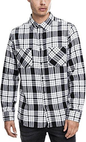 online store c1881 79b41 Urban Classics Herren Langarmshirt Hemd Checked Flanell Shirt 2 Wht Blk