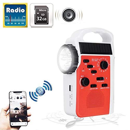 STHfficial AM/FM Bluetooth Solar Handkurbel Dynamo Außenradio Mit Lautsprecher Notempfänger Mobiles Netzteil LED Taschenlampe (Plug-in-track-leuchten)