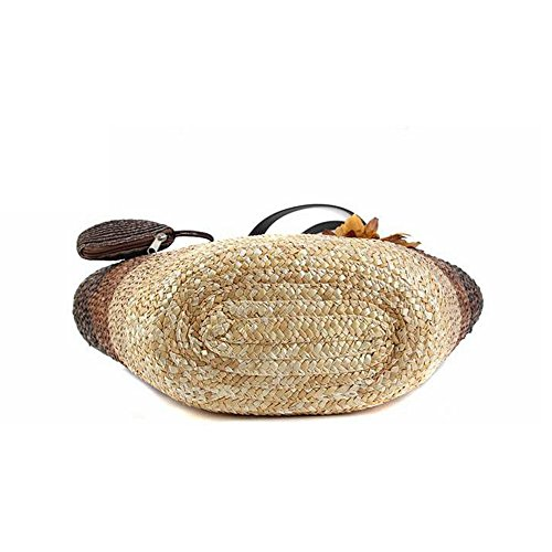 mixinni® Weizen Strohhalme Handtasche Schultertasche Farbige Gestreifte Blumen Strohtaschen Damen Strandtaschen Rosa