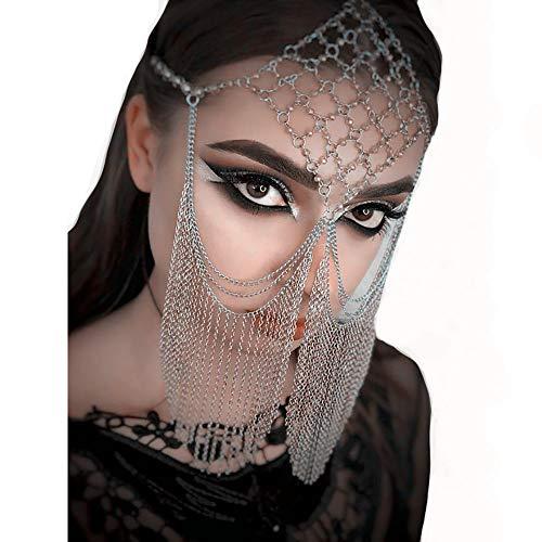Jasmin Kostüm Schmuck - HJG Sexy Schleier Goldkette für Frauen, Bauchtanz Kostüm Kopfbedeckung, Fransen Maskerade Maske, Haarband Gesichtskette,Silver