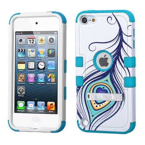 iPod Touch 5. 6. Generation Weiß Kunststoff/Blau Silikon 3-Stil Hybrid Hard Schutzhülle für Apple- für Mädchen und Boys-Shockproof Staubfrei, mit Ständer, Peacock Feather Blue