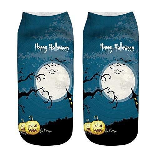 F.lashes Reizende Socken der Weiblichen Mittleren Strumpfkarikaturhexadesign-Dame für Festliches Halloween Low-Cut Kreative 3D-Druck Boot ()