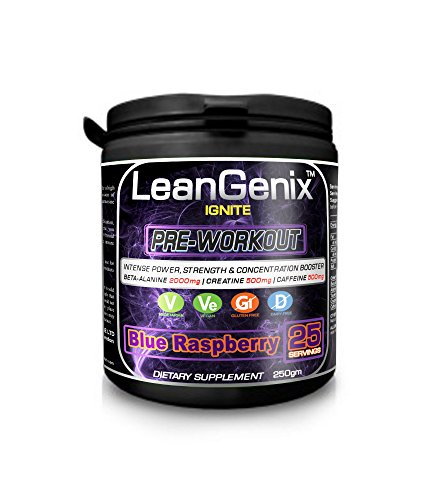 LeanGenix-IGNITE-Pre-Workout-Powder-Intense-Power-Strength-Concentration-and-Performance-Booster-with-BETA-ALANINE-2000mg-CREATINE-500MG-25-Servings-Blue-Raspberry-250mg