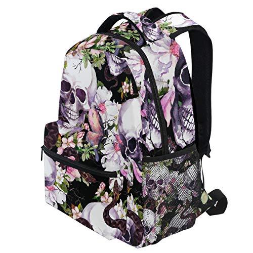 umen Schmetterlinge Vögel Schlange Aquarell Halloween Rucksäcke Bookbags Daypack Travel School College Bag für Frauen Mädchen Männer Jungen ()
