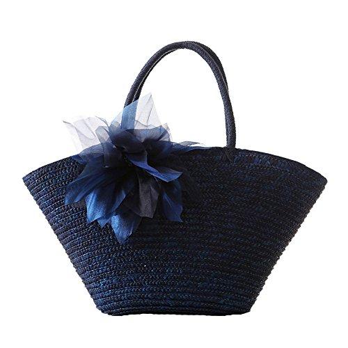 donne ragazze stile pastorale spiaggia fiore paglia sacchetto di spalla tote bag Borsa a tracolla Borse a mano, beige blu