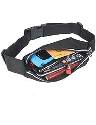 2–Tech - Riñonera, orificio para auricular, tiras reflectoras, hueco para el teléfono móvil, cinturón en color negro, ideal para correr
