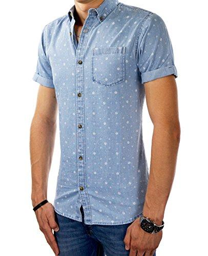 JACK & JONES Herren Jeanshemd jorNICO Kurzarm Shirt Denim Slim & Short Fit Button-Down Light Blue Denim