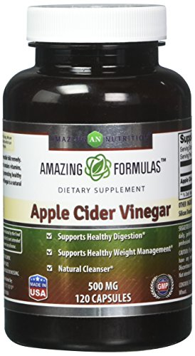 Amazing Formulas Apple Cider Vinegar Dietary Supplement - 500mg - 120 Capsules - Supports Healthy Digestion and Weight Management - Promotes Better Circulation