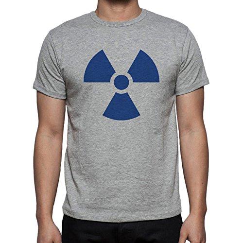 Danger Sign Warning Caution Blue Herren T-Shirt Grau