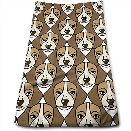 QuGujun Black and White Towels Cute Beagle Premium Soft Polyester Lightweight Hand Towel,Travel Towel,Bath Sheet, 30cm X 70cm- Multipurpose Towels for Bath, Hand, Face, Gym and Spa (Türkis Papier-handtuch-halter)