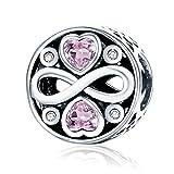 Argent sterling 925 Cœur Cristal Perle charm avec Oxyde de Zirconium Rose pour bracelet à breloques Collier,Fête des mères Cadeau pour Maman