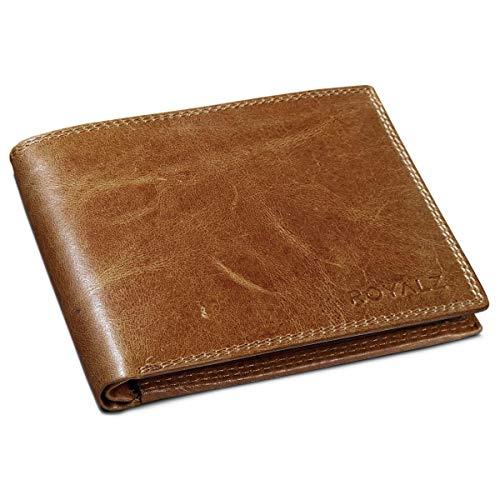 ROYALZ Vintage Herren Portemonnaie Leder Geldbörse 9 Kartenfächer Trifold Brieftasche aus hochwertigem Echt-Leder, Farbe:Cognac Antik (- Leder-tag)