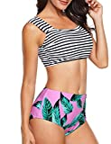 Angerella Swimsuit for Women Beach Cover up Floral Bandage Bikini(Green,L)