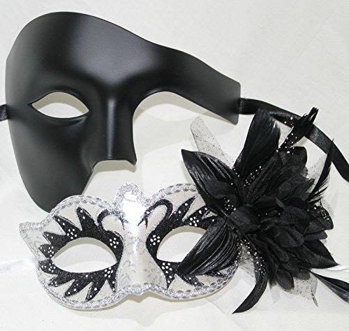 Sein und ihrs Zwei Schwarz u. Weiß venezianische Maskerade Partei Karneval Masken Für (Für Maskerade Paare Masken)