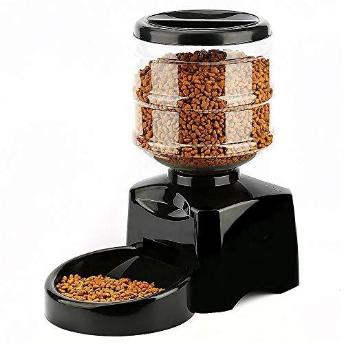 JLETAO 5.5L automatischer Katzenfutterautomat mit LCD-Display zur Programmierung, Sprachaufzeichnung, digitaler Timer. Futterautomat 1-3 Mahlzeiten täglich,Black - Tape Lcd