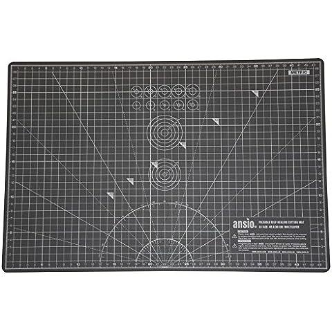 ANSIO A3 - Alfombrilla de corte plegable con guía de medidas, gris