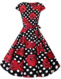 Dresstells Damen Vintage 50er Cap Sleeves Rockabilly Swing Kleider Retro Hepburn Stil Cocktailkleid Black Red Rose Dot S