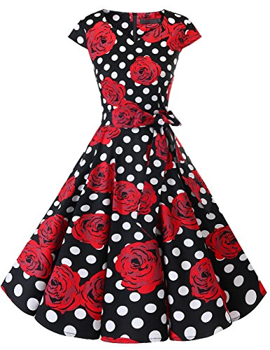 Dresstells Damen Vintage 50er Cap Sleeves Rockabilly Swing Kleider Retro Hepburn Stil Cocktailkleid Black Red Rose Dot L