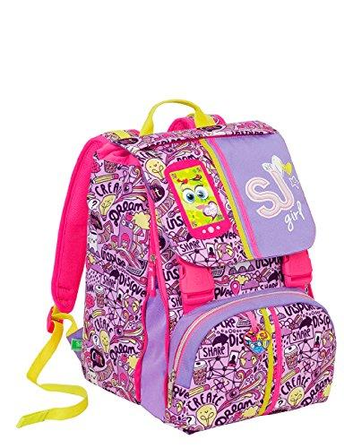 Zaino scuola sdoppiabile sj gang - high tech - viola rosa - innovativo sistema regolazione schienale - 28 lt elementari e medie 3