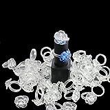 Nageltips 100 Stück Nagel Kunst Tips Falscher Nagel mit Ring Um Nagellackfarbe anzuzeigen (Transparente Blume)
