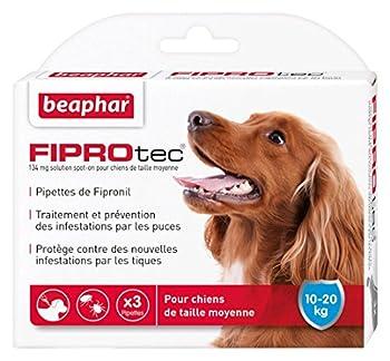 Beaphar - FIPROtec, pipettes anti-puces et anti-tiques au Fipronil - chien de 10 à 20 kg - 3 pipettes