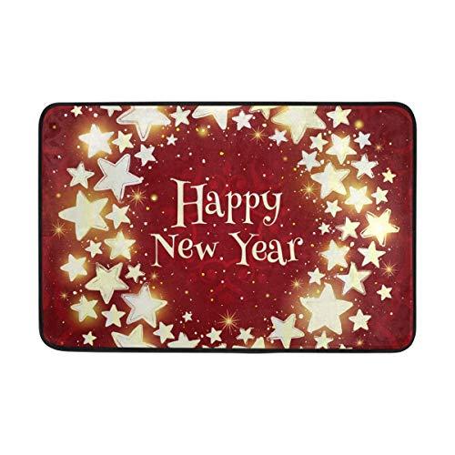 shizh Deco-mat Fußmatte Doormat Frohes neues Jahr Sterne Kranz Fussmatte Innen,rutschfest,waschbar Schmutzfangmatte-Fussabtreter-Türmatte 40x60 cm