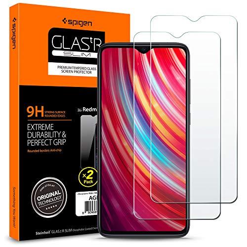 Spigen, 2 Pièces, Verre Trempé Redmi Note 8 Pro, Premium 9H, Respectueux de la Casse, Protection écran pour Xiaomi Redmi Note 8 Pro