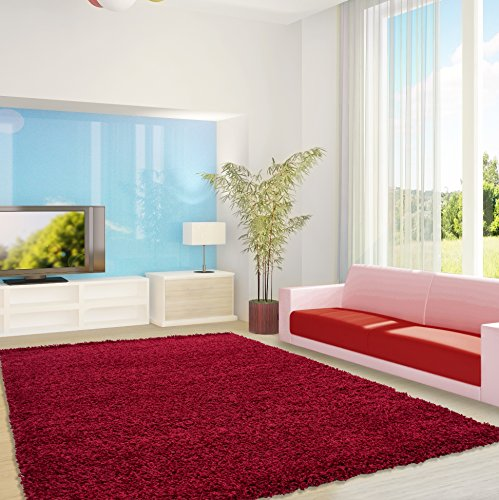 Shaggy Hochflor–Alfombra Feli Comfort Multicolor 12tamaños y colores–Öko-Tex 100, polipropileno, rojo, 160 x 230 cm