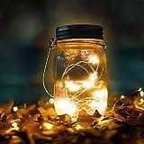 Lumières de Jardin Solaire, Qomolo 15 LED Imperméable à l'eau Jardin Exterieur Décoration Eclairage Lumières Mason Jar Lampes Pour Patio,Pont, Fête,Terrasse,Festival (Jaune chaud)
