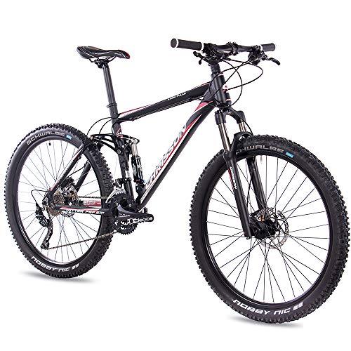 CHRISSON 27,5 Zoll Mountainbike Fully - Hitter FSF schwarz rot - Vollfederung Mountain Bike mit 30 Gang Shimano Deore Kettenschaltung - MTB Fahrrad für Herren und Damen mit Rock Shox Federgabel -
